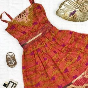 Anna Sui Colorful Silk Sundress Size 8